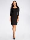 Платье трикотажное с рукавом 3/4 oodji #SECTION_NAME# (черный), 24001100/42408/2900N - вид 2