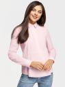 Блузка хлопковая с баской oodji для женщины (розовый), 11411174/26468/4000N