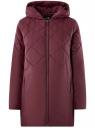 Куртка удлиненная с капюшоном oodji для женщины (красный), 10210001/45679/4901N