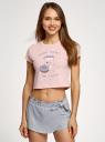 Пижама хлопковая с принтом oodji #SECTION_NAME# (розовый), 56002230/46154/4020P - вид 2