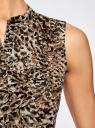 Топ из струящейся ткани с воланами oodji для женщины (бежевый), 21411106/17358/3337A