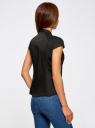 Рубашка с коротким рукавом из хлопка oodji #SECTION_NAME# (черный), 11403196-3/26357/2900N - вид 3