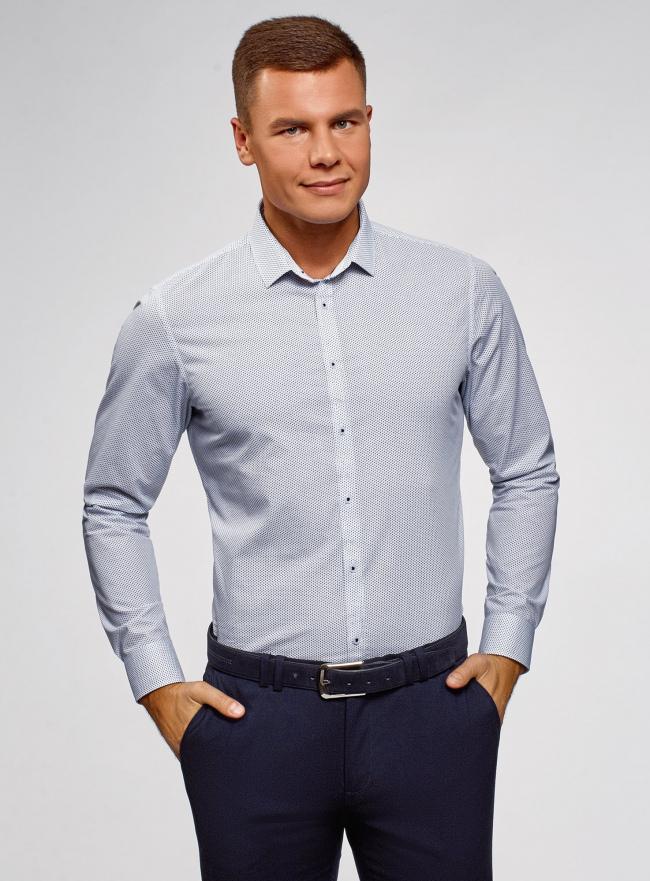 Рубашка хлопковая приталенная oodji #SECTION_NAME# (синий), 3L110331M/48633N/1075G