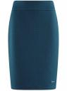 Юбка трикотажная из фактурной ткани oodji для женщины (синий), 24101036-2B/46869/7901N