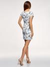 Платье трикотажное приталенного силуэта oodji #SECTION_NAME# (белый), 14001117-25B/48481/1075F - вид 3