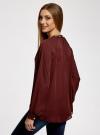 Блузка из струящейся ткани с металлическим украшением oodji #SECTION_NAME# (коричневый), 21414004/45906/4900N - вид 3