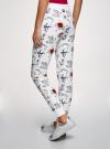 Брюки трикотажные на завязках oodji для женщины (белый), 16701042/46919/1075O - вид 3