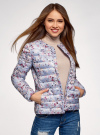 Куртка стеганая с круглым вырезом oodji для женщины (синий), 10204040-1B/42257/7019F - вид 2