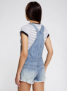 Комбинезон джинсовый с модными потертостями oodji #SECTION_NAME# (синий), 13109058/42559/7000W - вид 3