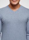 Пуловер базовый с V-образным вырезом oodji #SECTION_NAME# (синий), 4B212007M-1/34390N/7001M - вид 4