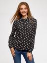 Блузка из струящейся ткани oodji #SECTION_NAME# (черный), 11400368-3/32823/2912F - вид 2