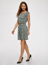 Платье принтованное из вискозы oodji #SECTION_NAME# (зеленый), 11910073-2/45470/6E12F - вид 6