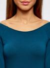 Платье облегающее с вырезом-лодочкой oodji для женщины (синий), 14017001-6B/47420/7901N - вид 4