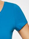 Футболка базовая приталенная oodji для женщины (синий), 14701005-7B/46147/7501N - вид 4