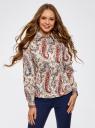 """Рубашка хлопковая с принтом """"пейсли"""" oodji #SECTION_NAME# (слоновая кость), 21402212-1/45966/3045E - вид 2"""