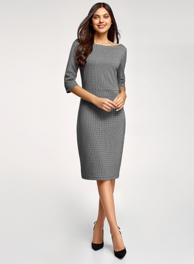 Платье приталенное с вырезом-лодочкой oodji #SECTION_NAME# (серый), 14011011-1/46979/2912J