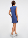 Платье из ткани пике oodji #SECTION_NAME# (синий), 14005074-1/45602/7500N - вид 3