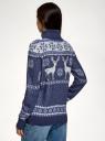 Свитер прямого силуэта с зимним узором oodji для женщины (синий), 64407132-2/42045/7912J