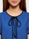 Блузка с коротким рукавом и контрастной отделкой oodji #SECTION_NAME# (синий), 11401254/42405/7529B - вид 4