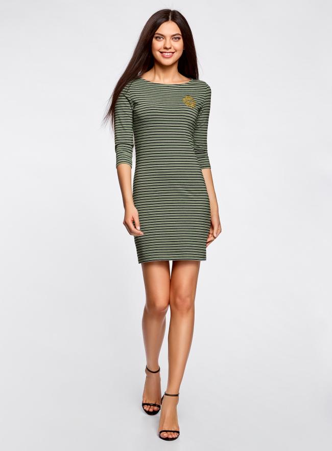 Платье трикотажное в полоску oodji для женщины (зеленый), 14001071-11/46148/6729S