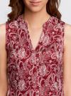 Блузка принтованная с V-образным вырезом oodji #SECTION_NAME# (красный), 21400388-3/35542/4912E