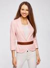 Жакет льняной с широким ремнем oodji #SECTION_NAME# (розовый), 21202076-2/45503/4000N - вид 2