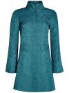 Пальто прямого силуэта из фактурной ткани oodji #SECTION_NAME# (бирюзовый), 10104043/43312/6C00N