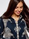Блузка с этническим узором и отложным воротником oodji #SECTION_NAME# (синий), 21411144-3M/35542/7935E - вид 4