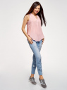 Топ базовый из вискозы oodji для женщины (розовый), 14911008B/24681/4000N