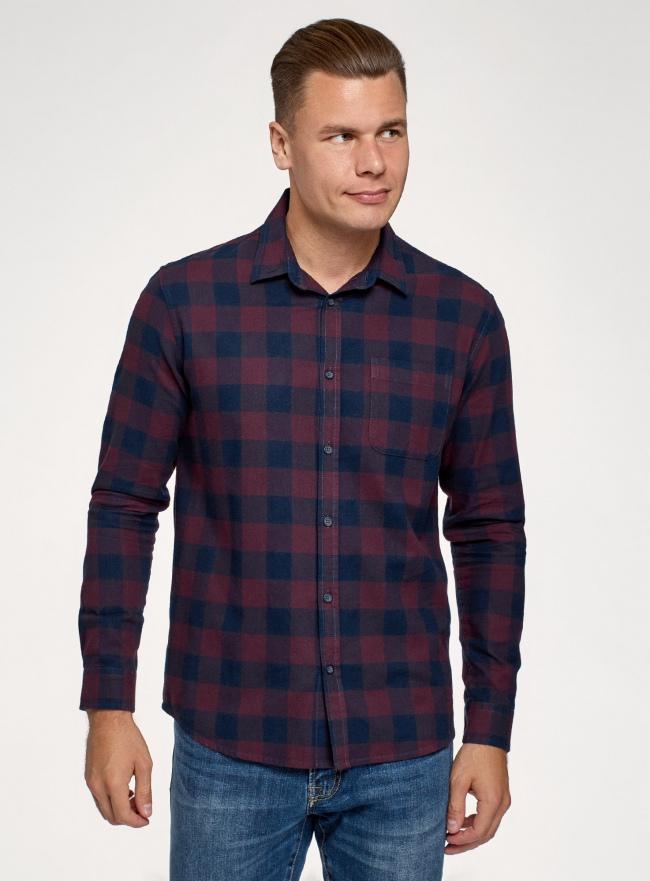 Рубашка хлопковая с длинным рукавом oodji #SECTION_NAME# (красный), 3L320016M/39882N/4979C