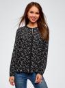 Блузка из струящейся ткани с контрастной отделкой oodji #SECTION_NAME# (черный), 11411059B/43414/2912F - вид 2