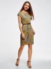 Платье трикотажное с ремнем oodji #SECTION_NAME# (желтый), 24008033-2/16300/5231E - вид 6