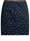 Юбка короткая хлопковая с ремнем oodji #SECTION_NAME# (синий), 11600397B/14522/7930O
