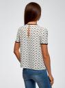 Блузка с коротким рукавом и контрастной отделкой oodji для женщины (слоновая кость), 11401254/42405/1229A