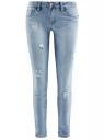 Джинсы slim fit с модными потертостями oodji для женщины (синий), 12101098/22306/7000W