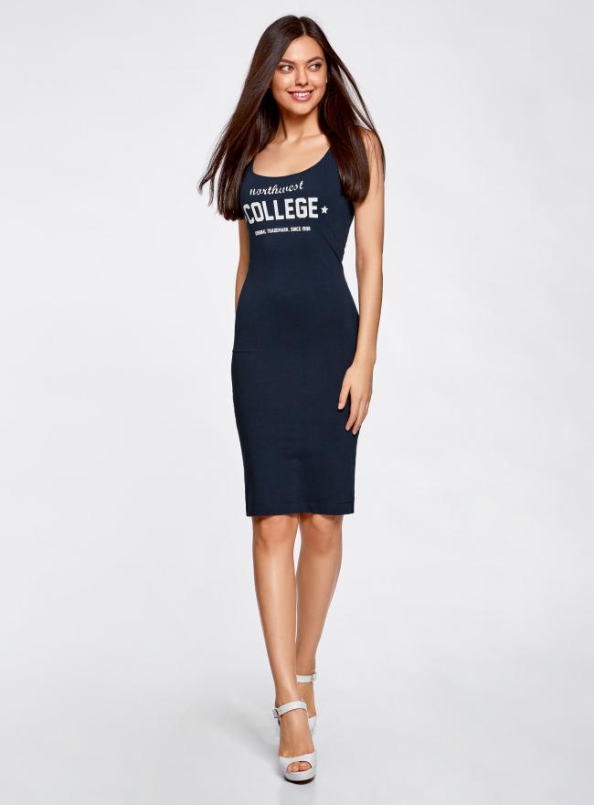 Платье-майка с принтом oodji для женщины (синий), 14015007-6/47420/7912P