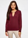 Блузка с вырезом-капелькой и металлическим декором oodji #SECTION_NAME# (красный), 21400396/38580/4900N - вид 2