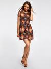 Платье принтованное из вискозы oodji для женщины (разноцветный), 11900191/26346/2959E - вид 2