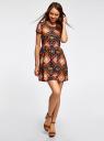 Платье принтованное из вискозы oodji #SECTION_NAME# (разноцветный), 11900191/26346/2959E - вид 2