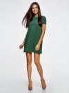 Платье А-образного силуэта в рубчик oodji для женщины (зеленый), 14000157/45997/6E00N - вид 2