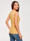 Топ из эластичной ткани на широких бретелях oodji для женщины (желтый), 24315002-1B/45297/5200N - вид 3