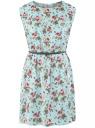 Платье вискозное без рукавов oodji #SECTION_NAME# (бирюзовый), 11910073B/26346/6541F