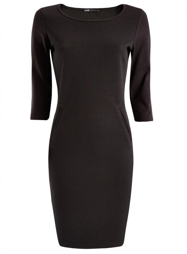 Платье трикотажное с рукавом 3/4 oodji для женщины (черный), 24001100/42408/2900N
