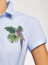 Рубашка хлопковая с вышивкой oodji #SECTION_NAME# (синий), 13K01004-6/14885/7019P - вид 5