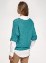 """Джемпер меланжевый с рукавом """"летучая мышь"""" oodji для женщины (зеленый), 63803057-1/43617/7375X"""