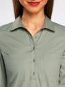 Рубашка базовая с нагрудными карманами oodji #SECTION_NAME# (зеленый), 11403222B/42468/6000N - вид 4
