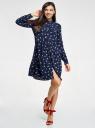Платье вискозное свободного силуэта oodji #SECTION_NAME# (синий), 11911036/42540/7920O - вид 2
