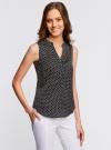 Блузка принтованная с V-образным вырезом oodji #SECTION_NAME# (черный), 21400388-3/35542/2912D - вид 2