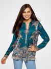 Блузка из струящейся ткани с принтом oodji #SECTION_NAME# (бирюзовый), 21411144-3/35542/7475E - вид 2