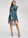 Платье шифоновое с асимметричным низом oodji для женщины (бирюзовый), 11913032/38375/7355E - вид 2